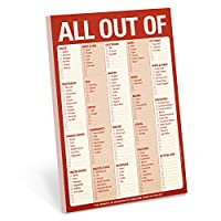 Knock Knock All Out Of Pad Grocery List Note Pad, 6 x 9-inches (Red)