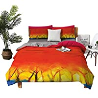 Four-piece bedding Hotel Luxury Bed Sheets sheets cotton Abstract Tree in Various Tones Watercolor Style Paintbrush Artwork Fuchsia Orange Yellow Blue high density weaving process W104