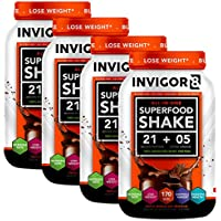 INVIGOR8 Superfood Shake(4 Pack Chocolate) Gluten-Free Non GMO Meal Replacement Grass-Fed Whey Protein Shake with Probiotics and Omega 3