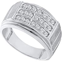 I2-I3 clarity; Black color Jewels By Lux 10kt White Gold Womens Round Black Color Enhanced Diamond Chevron Band Ring 1//6 Cttw In Pave Setting