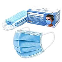TCP Global Salon World Safety Masks - 3 Layer Disposable Protective Face Masks with Nose Clip and Ear Loops (Sealed Dispenser Box of 50)