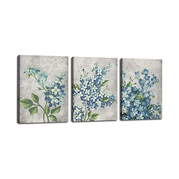 Canvas Wall Art Full Bloosm Flowers Painting Pictures Blue Florals Prints Retro Grey 12x16x3 Panels Botanical Stretched and Framed Ready to Hang for Bedroom Living Room Bathroom Home Office D/écor