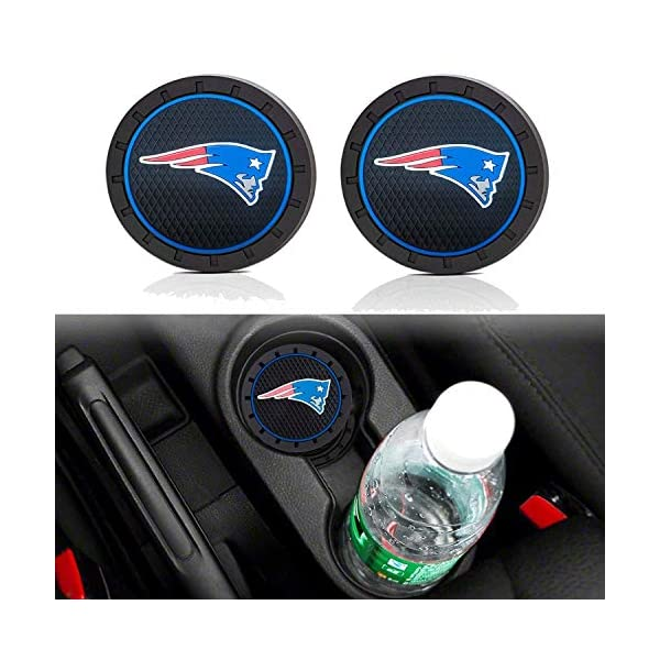 2.75 Inch Team Logo Anti Slip Silicone Car Coasters Fit All Vehicles 2pcs Yankee Car Cup Holder Mats for Sports Fans