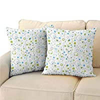 Xlcsomf Abstract Decorative Square Pillow Cover, Blue and Green Bubble Like Circle and Dots Pattern Design Print Comfortable and Soft (2 PCS, 16x16 Inch) Light Green Light Blue White