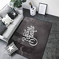 Anti-Slip Toilet Doormat Home Decor Just Breathe,Teenager in Sneakers Walking on a Street Youth Culture Urban Scene,Charcoal Grey White 64