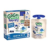 GoGo squeeZ YogurtZ, Blueberry, 3 Ounce (4 Pouches), Low Fat Yogurt, Gluten Free, Pantry-friendly, Recloseable, BPA Free Pouches (Packaging May Vary)