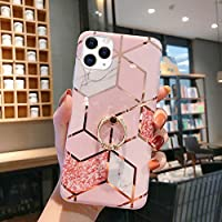Case for iPhone 11 Pro Max Marble Case,Girls Women Polished Plating Mosaic Marble Designed Flexible Soft Rubber Gel TPU Case Cover & Bling Glitter Diamond Ring Stand for iPhone 11 Pro Max Case,Pink B