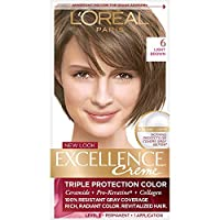 L'Oreal Paris Excellence Creme Permanent Hair Color, 6 Light Brown, 100% Gray Coverage Hair Dye, Pack of 1