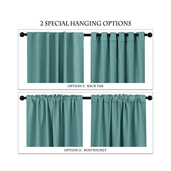 Mua Pony Dance Kitchen Blackout Curtains Home Decoration Light Block Curtains Draperies Window Coverings Short Drapes With Back Tab For Bedroom 42 Inch By 45 Inch Sea Teal 2 Panels Tren Amazon