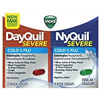 Vicks DayQuil and NyQuil SEVERE Cough, Cold and Flu Relief, 48 LiquiCaps (32 DayQuil and 16 NyQuil) - Relieves Sore Throat, Fever, and Congestion, Day or Night