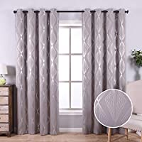 Anjee Blackout Curtains for Living Room with Foil Print Geometric Pattern, Thermal Insulated Grommet Top Blackout Window Drapes 52 x 95 Inches, Grey