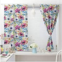 Watercolor blackout grommet curtains,curtains for bathroom windows Vintage Colorful Anemone and Forget Me Not Flowers Romantic Mimosa Peony Art dining room curtains Multicolor W84 X L90 Inch