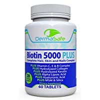 Biotin 5000 Plus - 7X More Effective for Hair, Skin and Nails - Complete Anti Aging Formula - Collagen and Keratin Boosters - MSM, Manganese, Silica, Antioxidants - Biotin Supplement