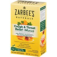 Zarbee's Naturals Cough & Throat Relief + Mucus Daytime Drink Mix with Dark Honey, Natural Lemon Flavor, 6 Packets