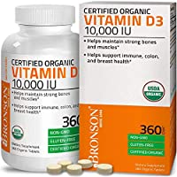 High Potency Vitamin D3 10,000 IU for Immune Support, Healthy Muscle Function & Bone Health, USDA Certified Organic Non-GMO Gluten Free Vitamin D Supplement, 360 Tablets