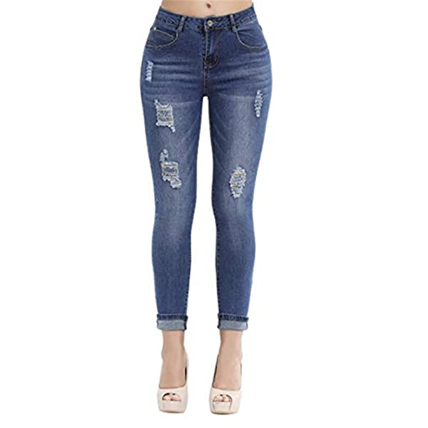 GALMINT Girls Fashion Skinny Fit Jeans Distressed Ripped Hole Denim Pants Jegging