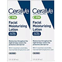 CeraVe Facial Moisturizing Lotion PM | 3 Ounce (Pack of 2) | Ultra Lightweight, Night Face Moisturizer | Fragrance Free