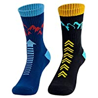 Time May Tell Mens Hiking Athletic Socks Moisture Wicking Cushion Crew Socks for Terkking,Outdoor Sports,Performance 2/3 Pack