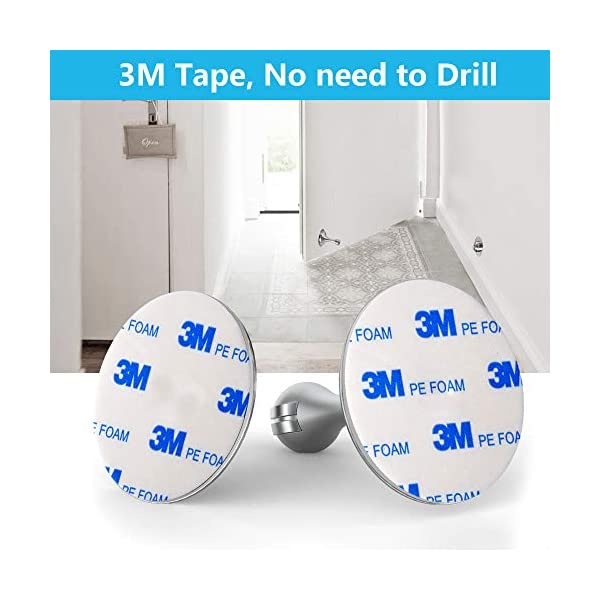 3 Pack Door Stop Magnetic No Drilling Door Stopper 3 Pack for Less Cost Magnetic Door Catch Hold Your Door Open 3M Double-Sided Adhesive Tape Screws for Stronger Mount Stainless Steel