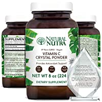 Natural Nutra Pure Vitamin C Crystal Powder from Ascorbic Acid, Non GMO, Potent and Premium Grade, Vegan and Vegetarian, Herbicide, Pesticide and Soy Free, Scoop Included, 8 Oz