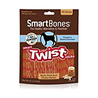 SmartBones Smart Twist Sticks With Peanut Butter 50 Count, Rawhide-Free Chews For Dogs, SBTT-02943, 50-count