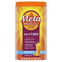 Metamucil Sugar-Free Fiber Supplement, 180 Servings, 4-in-1 Psyllium Husk Powder, Orange Flavored Drink, 36.8 Ounce