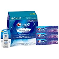 Crest 3D White Whitestrips (22 Treatments) with Crest Toothpaste Triple Pack and Glide Floss Twin Pack Bundle