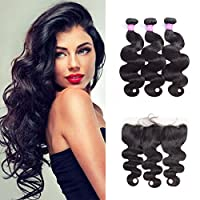 Original Queen 8A Brazilian Body Wave 3 Bundles with Ear to Ear Lace Frontal 100% Unprocessed Human Hair Extensions 16 18 20inches With 14inches Free Part Frontal
