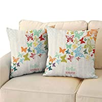 Xlcsomf Butterflies Decoration Printed Pillowcase, Vintage Background with Butterflies and Dots Hello Summer Greeting Text Double-Sided Printing (2 PCS, 22x22 Inch)