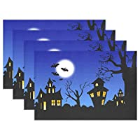 YUEND Non Slip Table Mats Resistant Placemats for Dinning Table Halloween Castle Moon Tree Kitchen Home 1PC Love Heat Durable