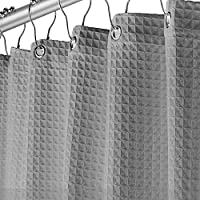 Creative Scents Grey Fabric Shower Curtain for Bathroom - Spa, Hotel Luxury, Waffle Weave Square Design, Water Repellent, 72