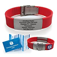 Red Silicone Sport Medical Alert ID Bracelet (Incl. 6 Lines of Custom Engraving). Choose Your Color! -