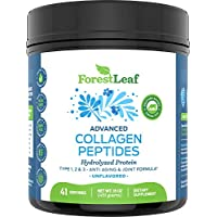Advanced Hydrolyzed Collagen Peptides - Unflavored Protein Powder - Mixes Into Drinks and Food - Pasture Raised, Grass Fed - for Paleo and Keto; Joints and Bones - 41 Servings Collegen - by ForestLeaf