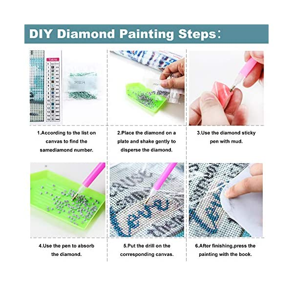 Canvas 12X12In XPCARE 6 Pack 5d Diamond Painting Kits Round Full Drill Acrylic Embroidery Cross Stitch for Home Wall Decor Family Love