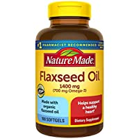 Nature Made Flaxseed Oil 1400 mg Softgels, 100 Count for Heart Health† (Packaging May Vary)