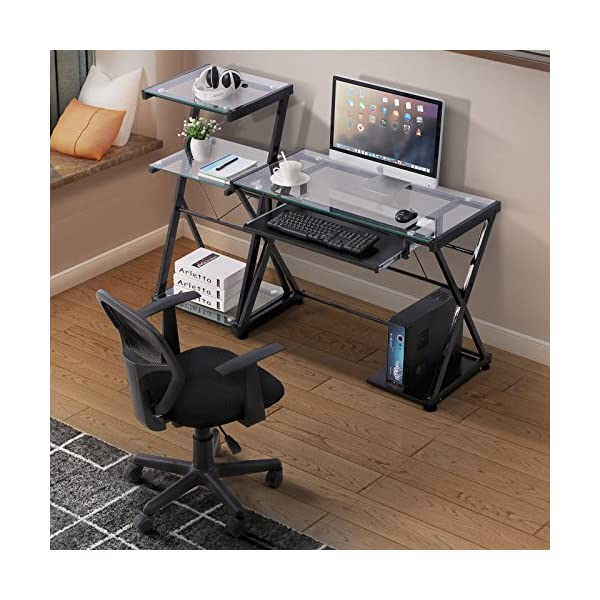 Glass /& Metal Clear Glass Laptop PC//Computer Table Workstation Home Office Furniture Mecor L-Shaped Corner Computer Desk with Shelf /& Stand