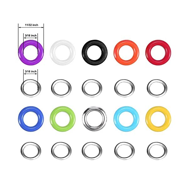 Yotako 300 Pieces Grommet Kit Metal Eyelet Kit for Bag,Clothes Carfts,3//16 Inch 10 Colors