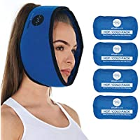 Face Ice Pack for Wisdom Teeth, Jaw, Head and Chin, 4 Reusable Hot or Cold Gel Packs, Relief for Mouth, or Oral Pain, Facial Surgery, TMJ Pain Relief