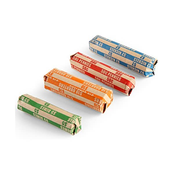 Coin Roll Wrappers 300 Assorted Flat 75 of Each Wrapper