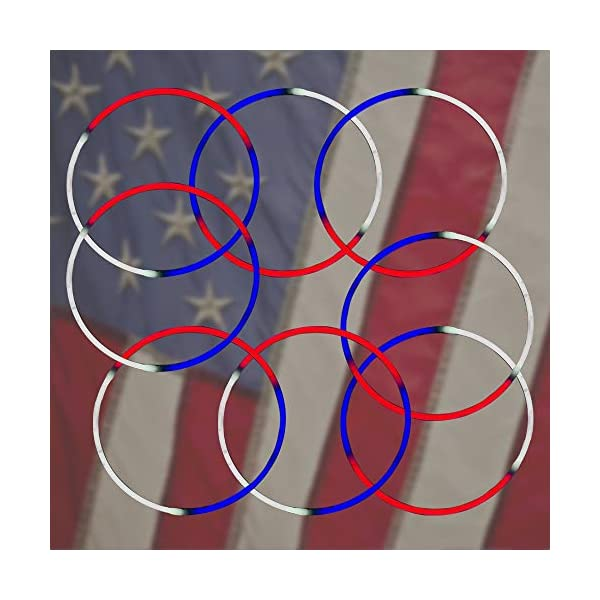 50 Glowsticks Perfect for 4th of July Independence Celebration White /& Blue Tri-Color Red Safe /& Non-Toxic Light Up Premium Super Bright Glowstick Lumistick 24 Inch Glow Stick Necklaces