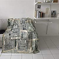 painting-home Bed Blanket Vintage Styled Layered Sepia Toned Newspaper Print with Old Fashioned Illustrations Soft Breathable Blanket Keep Cool on Warm Nights Black Cream (30 x 40 Inches)
