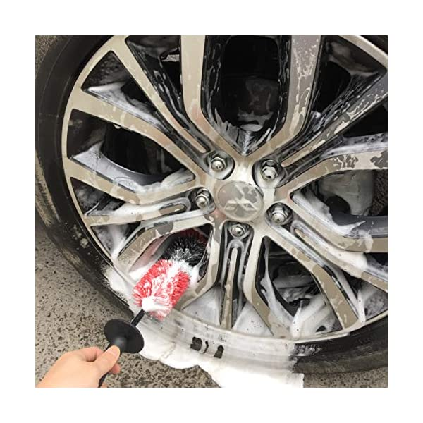 YISHARRY LI Wheel Brush Car Cleaning Kit 17inch Long Soft Bristle Tire Brush and 5 Different Sizes Boar Hair /& Synthetic Fiber Detail Brushes