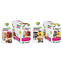 Sprout Organic Baby Food Pouches, Sprout Stage 2 Baby Food Oatmeal Variety Pack 12 Count (6, 3.5 oz Apple Oatmeal Raisin with Cinnamon pouches and 6, 3.5 oz Blueberry Banana Oatmeal pouches)