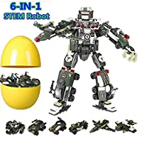 Green Best Toy Gift Idea for Kids Robot STEM Toy Creative Set 3 in 1 Transforming Action Rescue Figures Bots Construction Building Toys for Boys Ages 6-12 Years Old