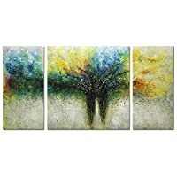 Metuu Paintings, 32x64 Inch Paintings Modern Tree of Life Oil Painting Contemporary Artwork Floral Hangings Stretched And Framed Ready to Hang Wall Decoration Abstract Painting