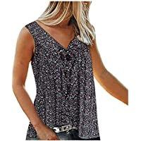 Aotifu Womens V Neck Sleeveless Camisole Print Tanks Tops and Blouse Strappy Loose Camisole Vests Shirt