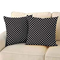 Xlcsomf Black and White Pillowcase Soft Decorative, Classical Pattern of White Polka Dots on Black Traditional Vintage Design Home Decor Decorations (2 PCS, 22x22 Inch) Onyx White