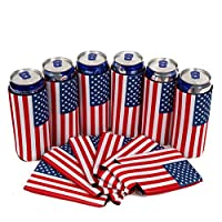 QualityPerfection 6 Slim Can Cooler Sleeves - Beer Skinny 12 oz Neoprene Coolies - Perfect For 12 oz Slim Red Bull, Michelob Ultra, Spiked Seltzer,Truly,White Claw (6, USA Flag)