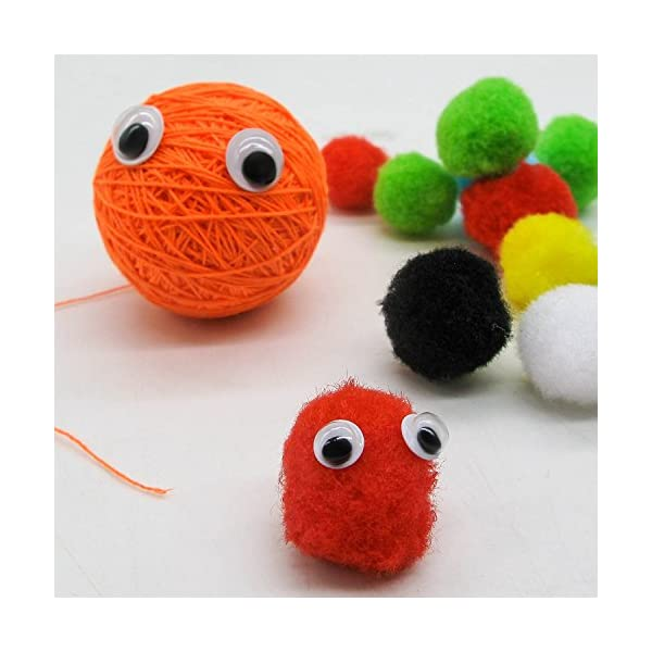 TOAOB 600pcs 6mm Wiggle Googly Eyes with Self-Adhesive Round Black for Crafts Decorations