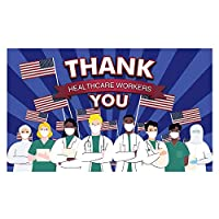 Funnytree Thank You Healthcare Workers Backdrop for Essential Employees First Responders Suppor Heroes Photography Background Signs of Justice Yard Together to Fight Pandemic Banner Poster 5x3ft